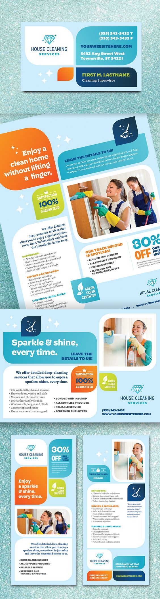 It's time to freshen up! Create sparkling promotional flyers, brochures, ads, rack cards and postcards for your professional cleaning business with eye-catching, ready-to-customize graphic design layouts from StockLayouts.com