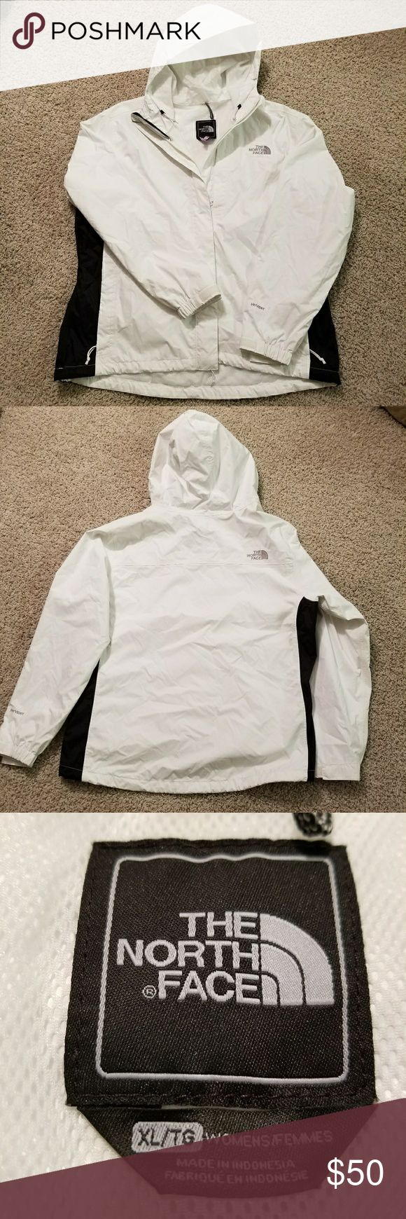 The Northface white with black rain jacket sz XL For sale I have a beautiful Nortface rain jacket in excellent condition. It's lined white inside. It's lightweight and perfect for those windy or rainy days.  $50 The North Face Jackets & Coats Utility Jackets