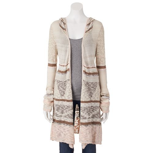 Mudd® Aztec Wool-Blend Hooded Cardigan - Juniors | Silver Peony | $24.99