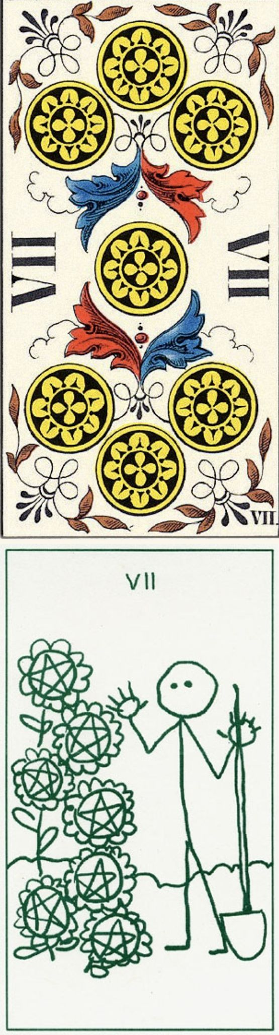 Seven of Pentacles: almost ready to harvest rewards and frustration (reverse). JJ Swiss Tarot deck and Stick Figure Tarot deck: free tarot reading ask a question, elementaltarot and free tarot card reading on line. Best 2017 oracles eye and psychic readings. #ghost #android #backtonature #ritual #spell