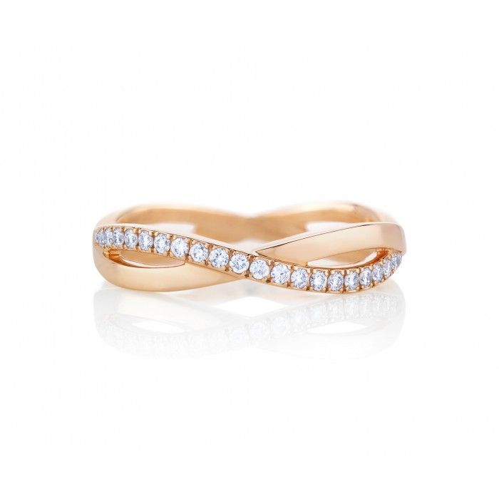 De Beers Infinity Pink Gold Band The infinity design represents a path of never-ending possibilities. An eternal, interweaving path of pave diamonds around the pink gold band symbolise the everlasting beauty of diamonds themselves. Total carat weight is 0.36cts.