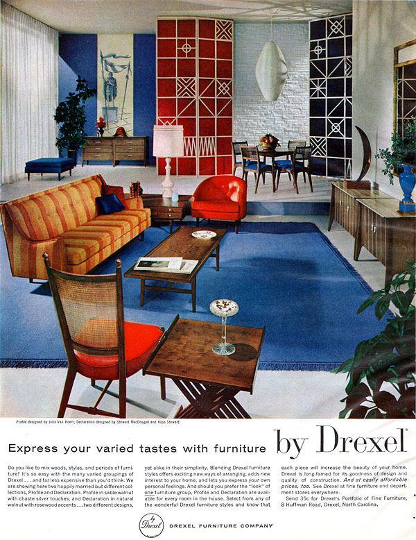 john van koert drexel furniture profile mid century modern 1959 magazine ad - Mid Century Modern Furniture Of The 1950s