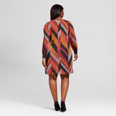Women's Plus Size Chevron Print Dress - Chiasso - Brown 2X, Orange