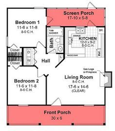 plans for a small 800 square foot home with 2 bedrooms and front/back porch spaces