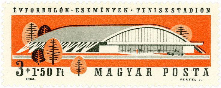 vintage postage stamps, Hungary postage stamp: tennis stadium c. 1964