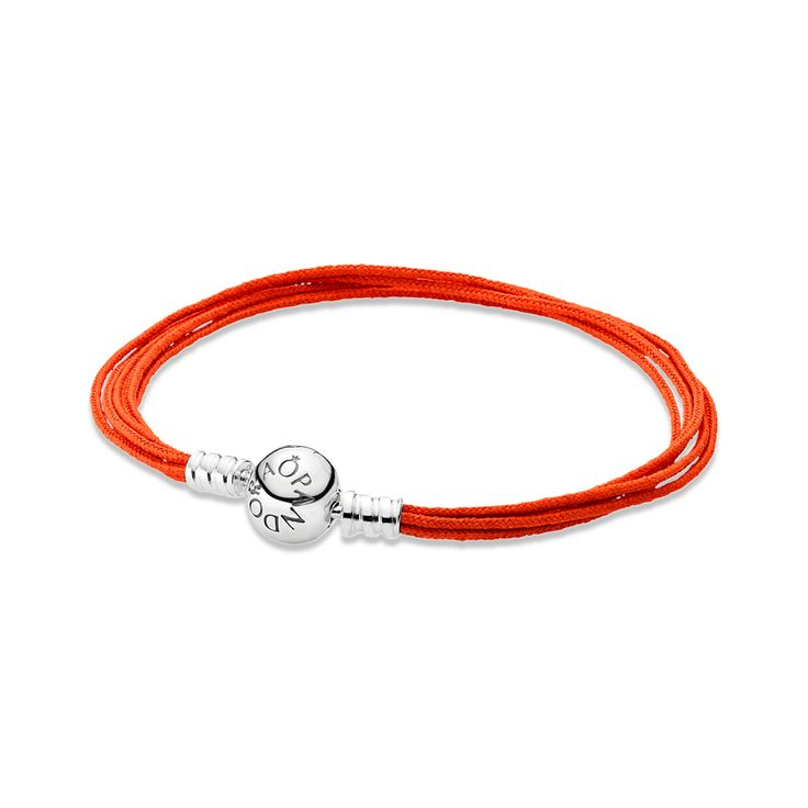 PANDORA multi-string bracelet in vivid orange is a must-have from the new Summer 2014 collection. $35 #PANDORA #PANDORAbracelet #SS14
