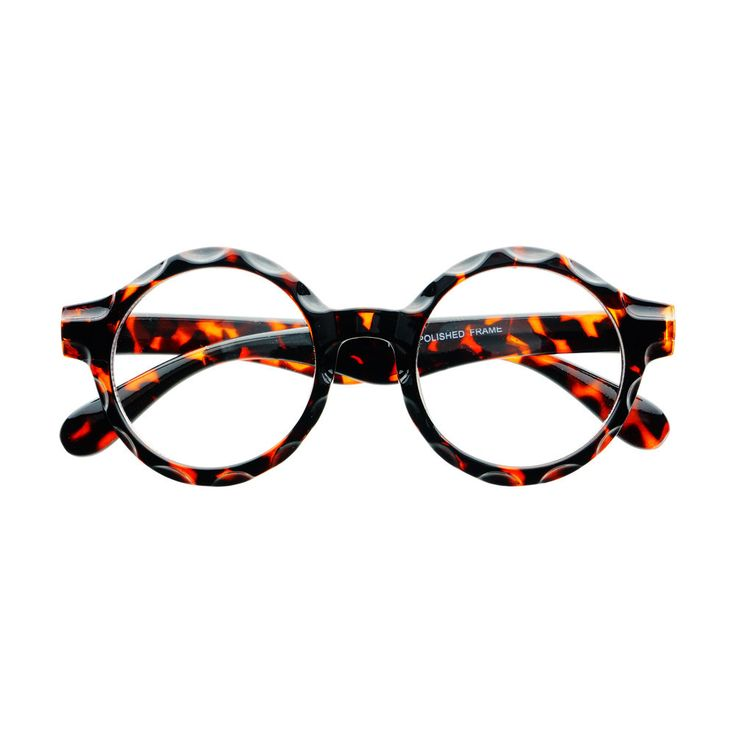 Funky pair of large round eyeglasses with unique detailed frame and clear  lenses Sunglasses dimensions: