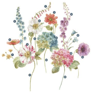 Lisa Audit Garden Flowers P&S Giant Decal traditional-wall-decals