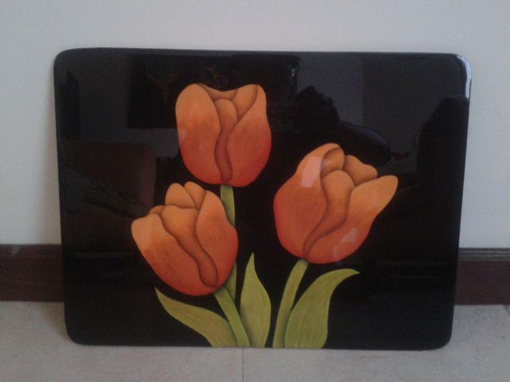 individual y/o bandeja pintado a mano con acrilicos sobre madera