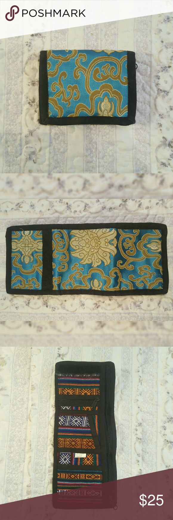 Gorgeous Boho Tribal Handmade Wallet Made in India by Tibetan refugees. Good condition. Some loose threads. Bags Wallets