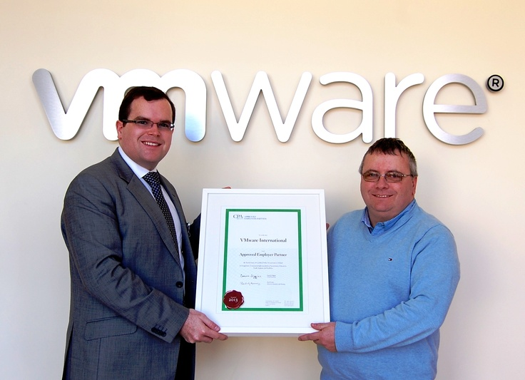 Cathal McNamara, Business Relationships Manager with CPA Ireland is pictured here presenting the AEP certificate to CPA member and Director of Finance in VMware, Kieran Barry-Murphy.