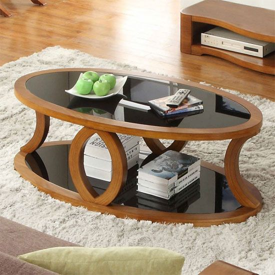 ... Walnut Black Glass Coffee Table Is The Perfect Choice For Your Dining  Space. The Table Comes Along With Additional Under Shelf And Is Oval In  Shape With ...