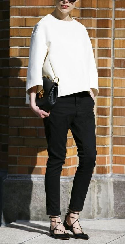 97c9ca4e0 black and white business outfit   top + crossbody bag + pants + lace-up  flats