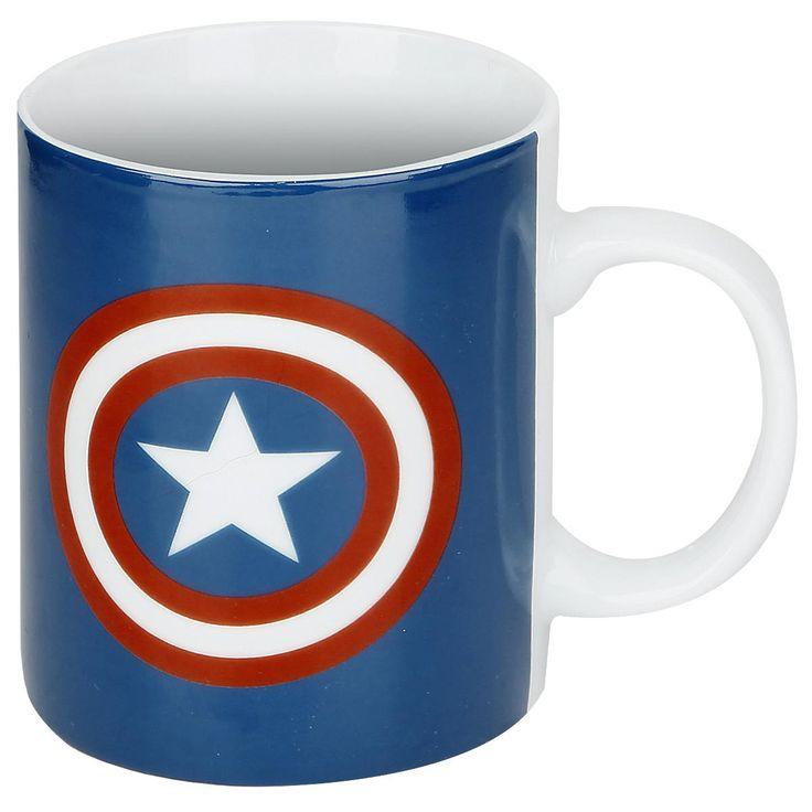 """Tazza in porcellana bianca """"Shield Logo"""" di #CaptainAmerica con stampa. Compatibile con lavastoviglie e microonde."""