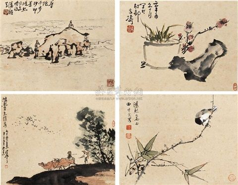 Flowers and birds (+ 3 others; 4 works) by Qin Lingyun, Tian Shiguang and Wang Xuntao