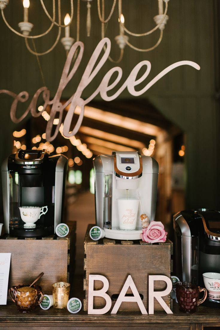 A #DIY coffee bar will give a magical touch to your wedding reception. Discover Keurig Bridal!