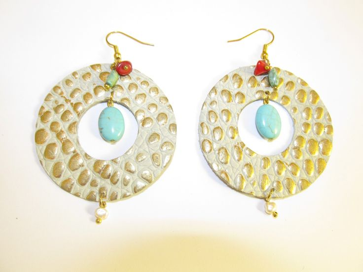 Handmade leather earrings (1 pair)  Made with embossed beige/gold leather and semiprecious stones.