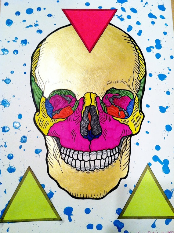 neon and metallic skull by me    http://www.etsy.com/listing/100799650