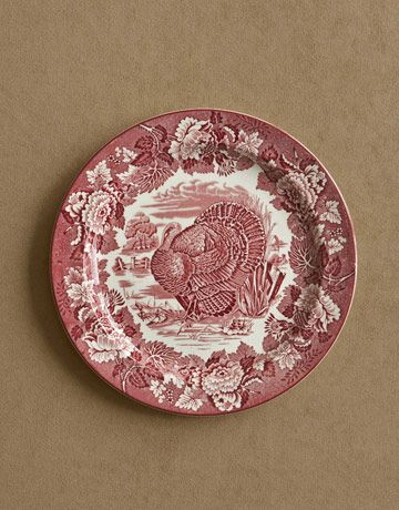 Red transferware plates are a perennial turkey-day favorite ($98).    Read more: Turkey China Transferware - Thanksgiving Dinner - Country Living Perennial Favorite