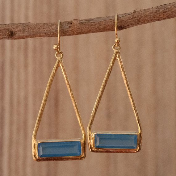 Aqua Chalcedony Earrings Turquoise Dangle by ByCilaJewelry on Etsy