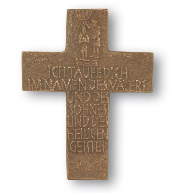Taufkreuz 12 cm Bronze (im Geschenkkarton) Wandkreuz 64550