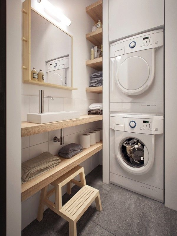 space efficient laundry room design combined with the bathroom.