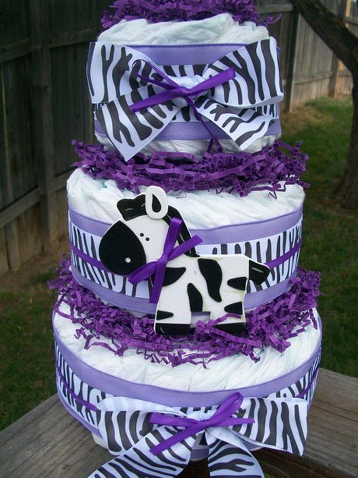 purple zebra baby shower ideas for girls | Purple Zebra Print Baby Shower Cakes