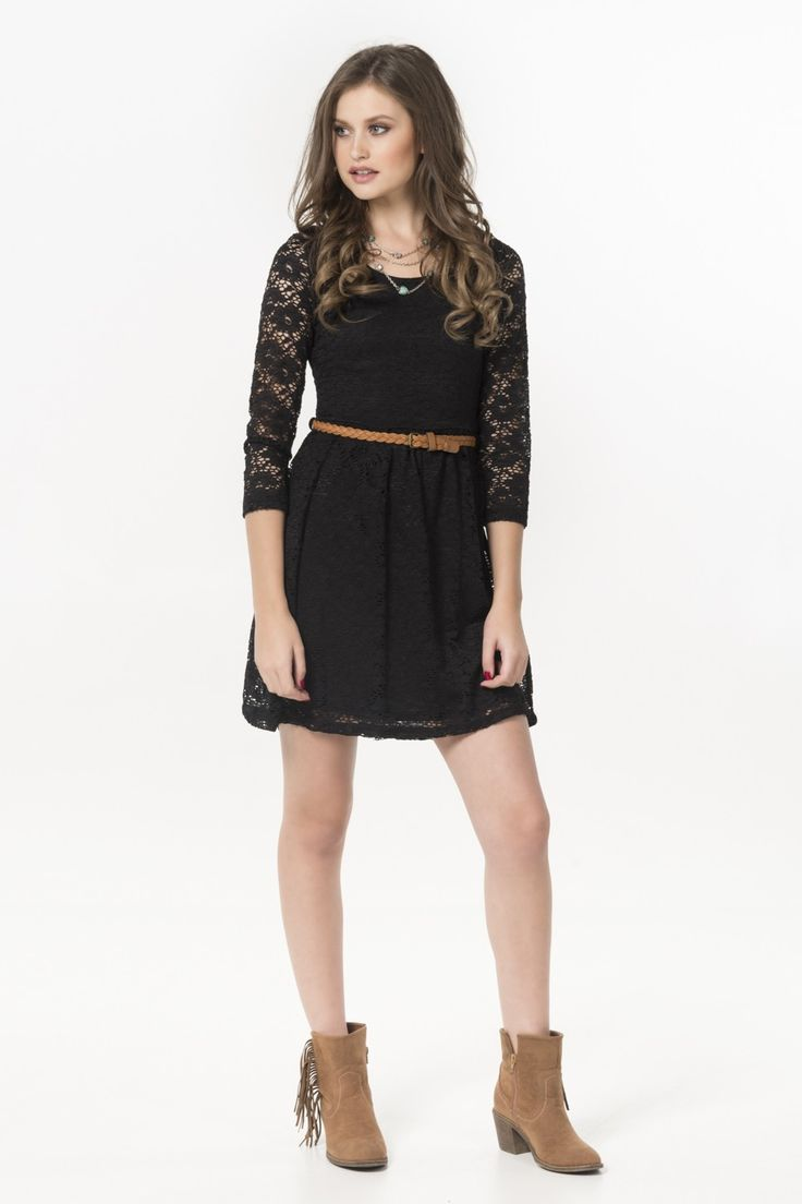 Black lace 3/4 sleeve belted skater dress