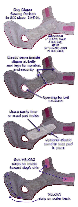 Dog Diaper Sewing Pattern ePattern pdf file door ParksbirdPatterns: