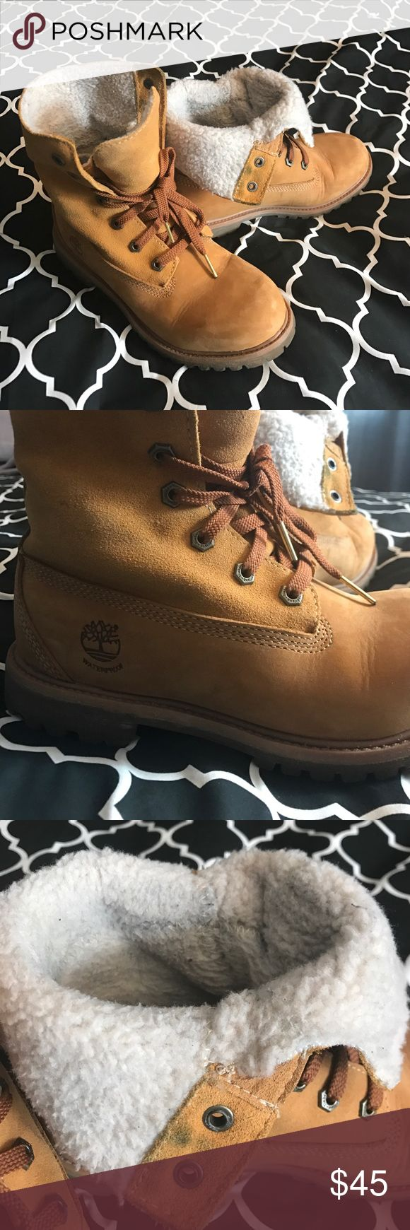 Timberland classic roll tops Timberland classic yellow boot roll tops. Versatile and comfortable. Some signs of wear on the inner lining. Waterproof. Timberland Shoes Lace Up Boots