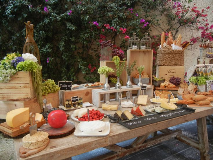 Pretty wine and cheese table