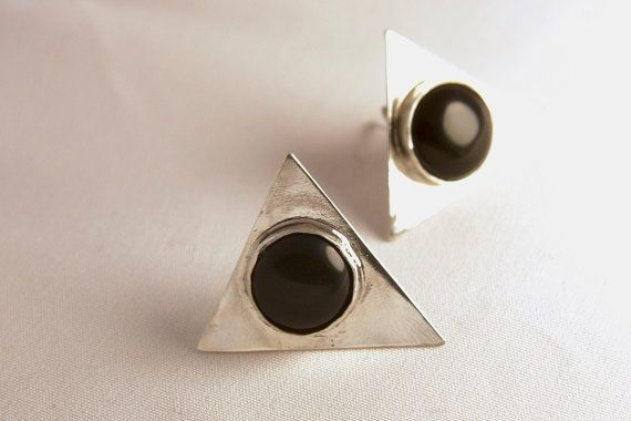 Onyx Sterling Silver 925 TRiangle Earrings Precious Stone. Bohemian Style
