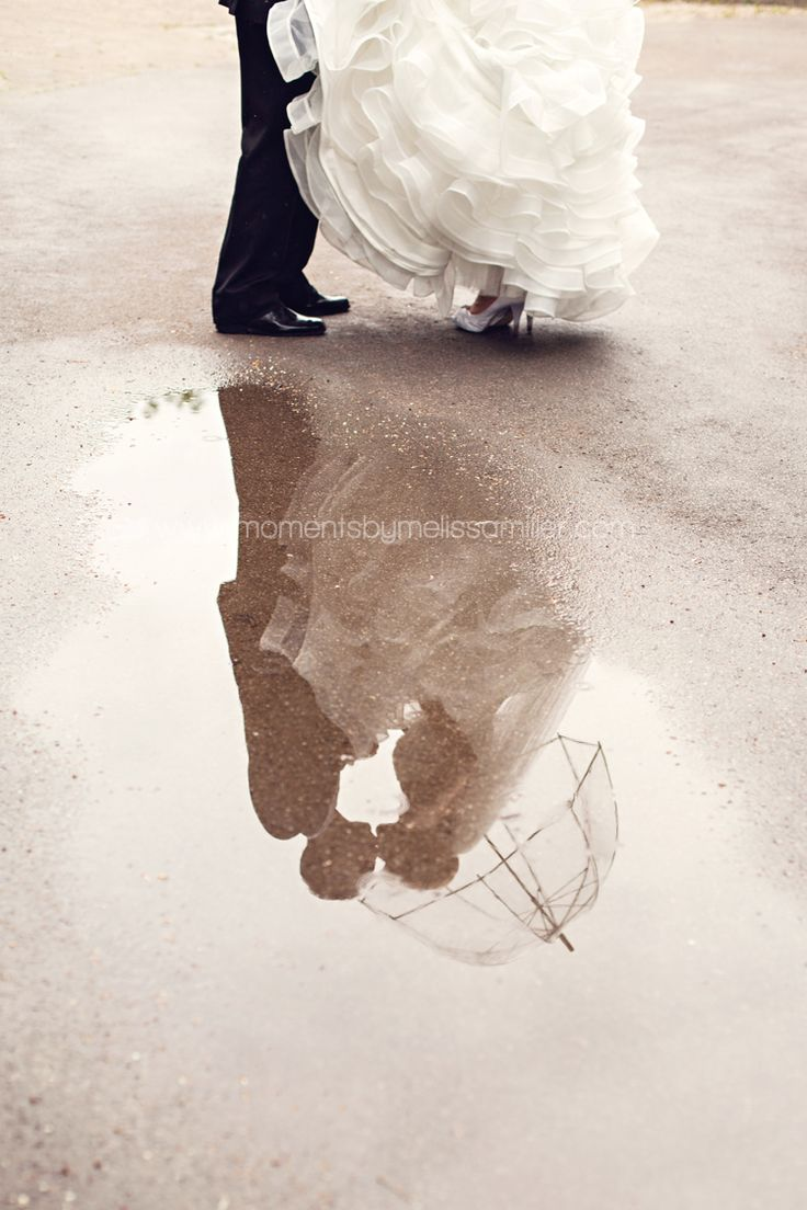 Hamilton ON Wedding Photography Royal Botanical Gardens RBG Grand Olympia bride, groom, rain, puddle, umbrella, reflection