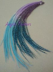 BLUEBERRY CHEESECAKE OMBRE TYE DYE FEATHER HAIR EXTENSIONS