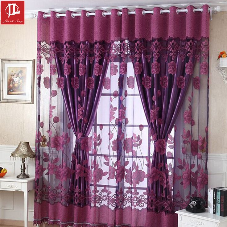 (1 PC Cloth Curtain And 1 PC Tulle)Traditional Home curtains High-grade Luxury Curtains Lotus Flower Curtain For Bedroom Home #Affiliate