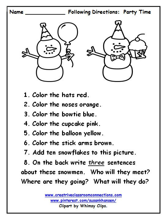 Cute snowmen are ready for a party. Students can read and