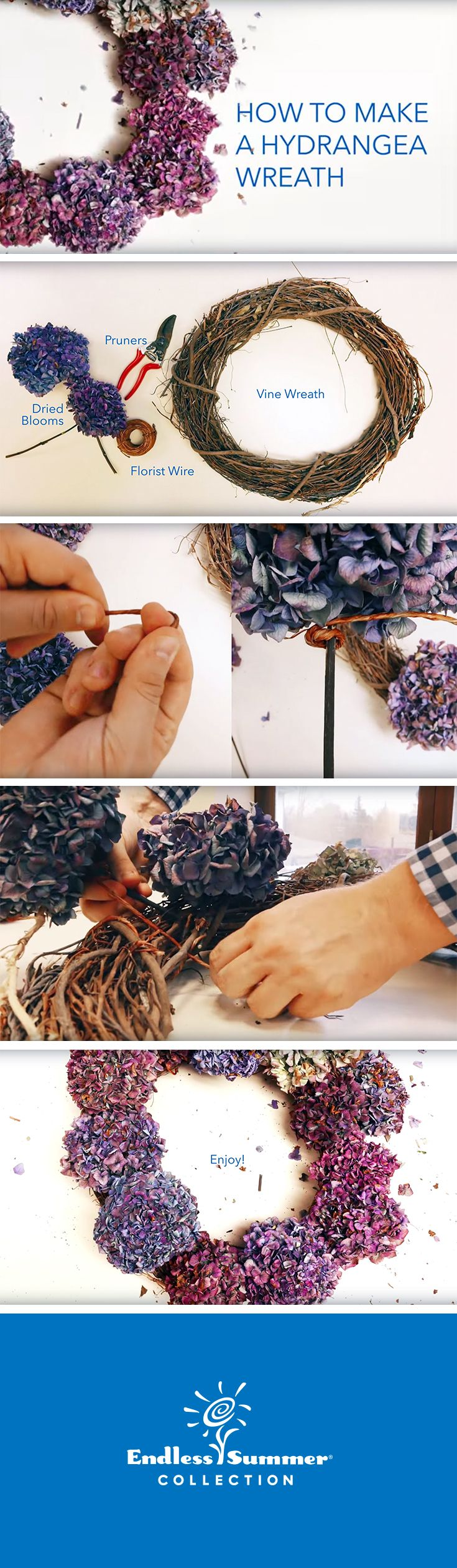 Making a hydrangea wreath for the holidays and winter months is easy! Cut Endless Summer® Hydrangea blooms from your garden and enjoy all season long with these easy steps.