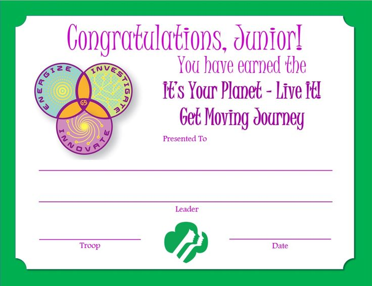 girl scout certificate templates of junior get