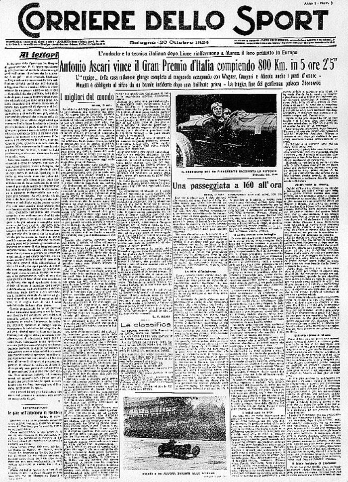 Il primo numero del Corriere dello Sport, fondato a Bologna il 20 ottobre 1924