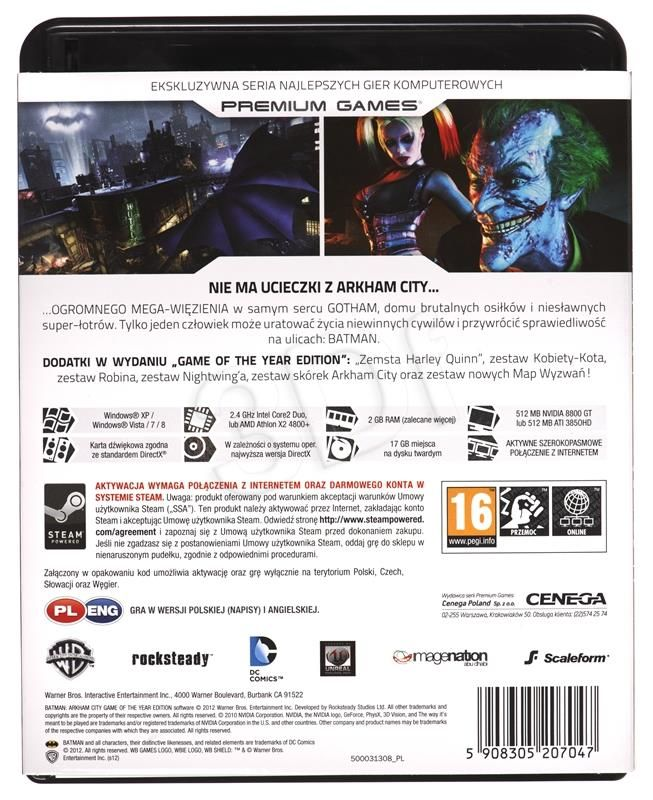 GRA PC NPG BATMAN: ARKHAM CITY GAME OF THE YEAR EN,PL