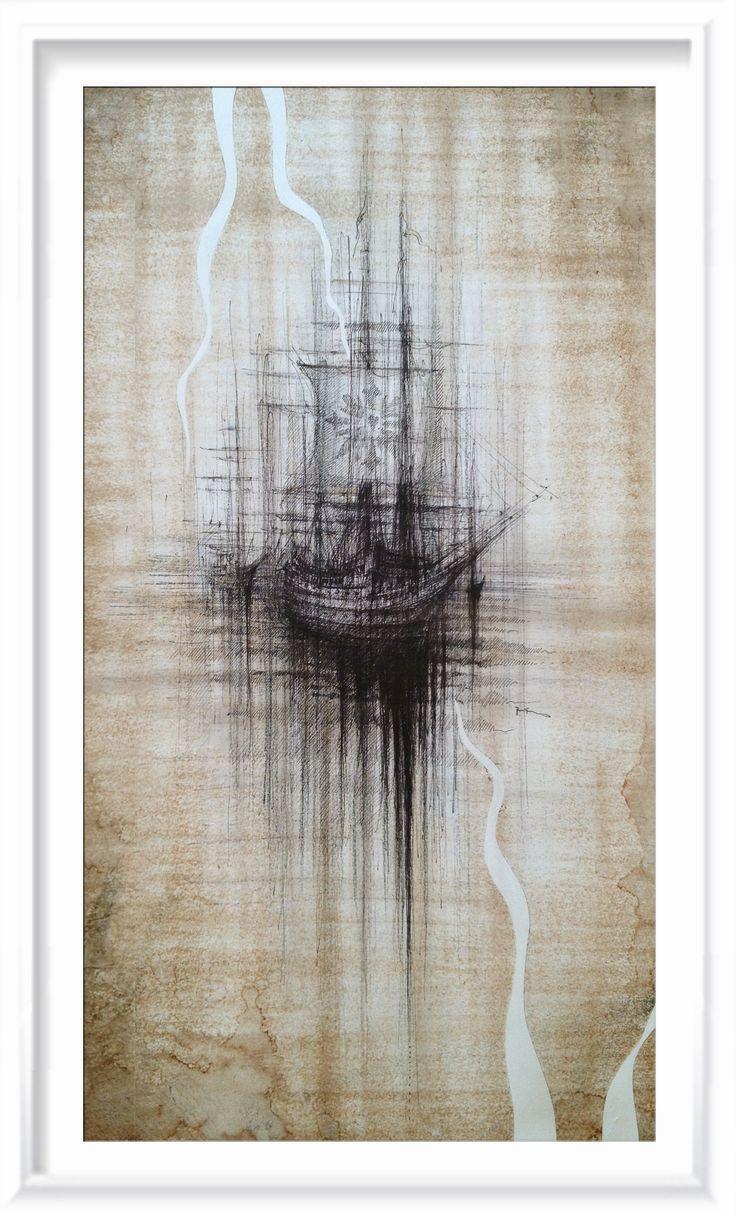 BLACK SHIP  Drawing on paper, 30x50cm, coffe, ink, water, cryon © Pavel Filgas 2016  http://pavelfilgas.com/ https://www.instagram.com/pavelfilgas/ https://plus.google.com/108196739191298269463