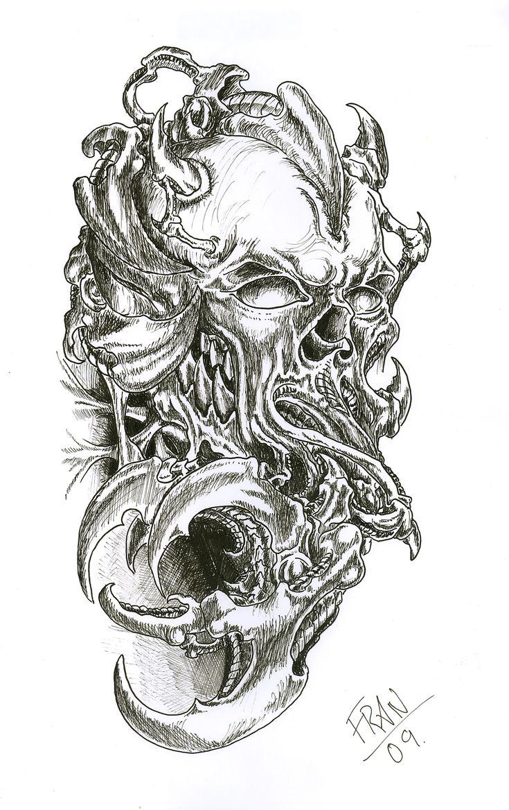 Biomechanical tattoos designs - Attractive Biomechanical Skull Sleeve Tattoo Design