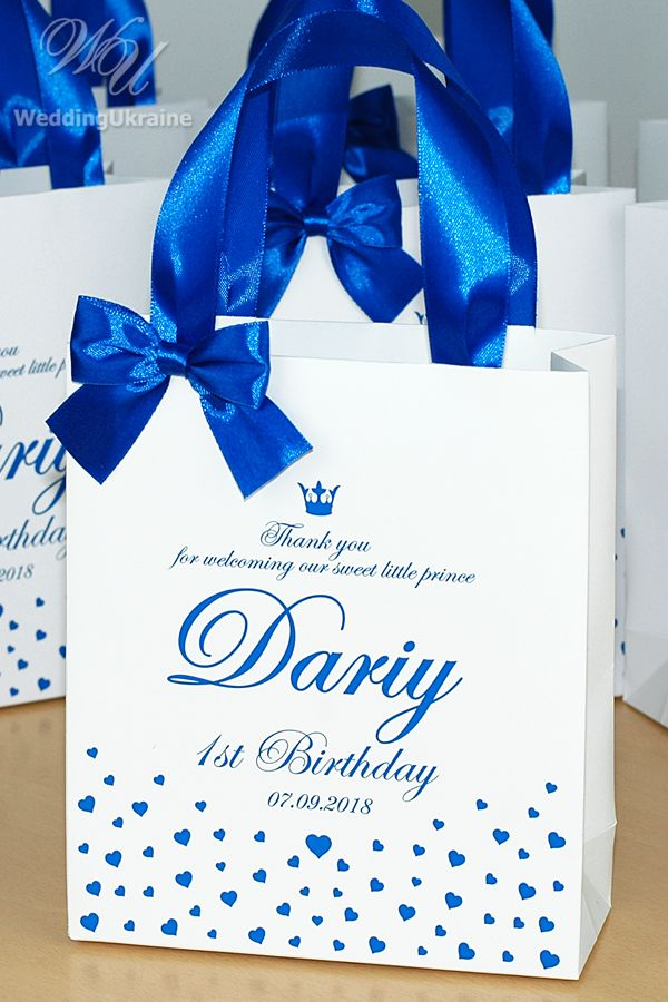First Birthday Gift Bags For Favors Personalized Thank Your Bag With Royal Blue Satin Ribbon Handles Bow Baby Boy Prince Party Favor