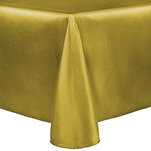 Ultimate Textile Reversible Shantung Satin   Majestic 60 X 84 Inch Oval  Tablecloth Gold