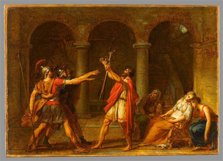 Jacques-Louis David, 'Le Serment des Horaces', 1784. Esquisse peinte.                                                                                                                                                                                 Plus