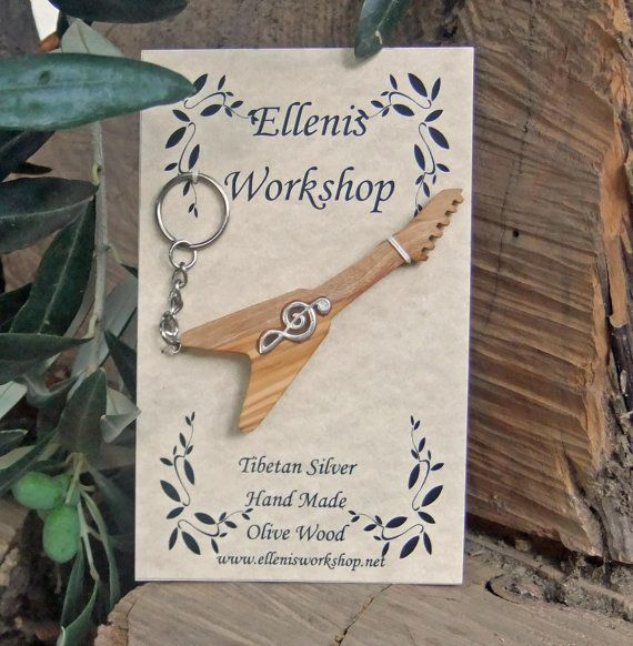 Guitar Flying V Key chain inlaid with silver by ellenisworkshop, $29.00