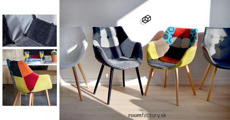 Holandský dizajn stoličiek ELEVEN v dvojfarebnom patchwork prevedení, alebo v dvoch farbách vo vzhľade kože.