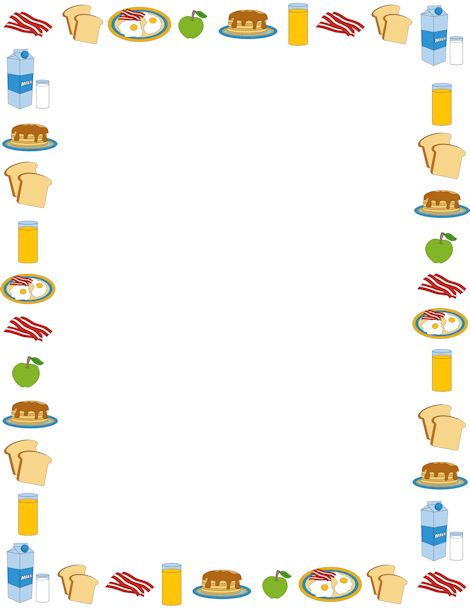 Breakfast page border. Free downloads at http://pageborders.org/download/breakfast-border/