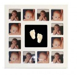 """""""Mis primeros doce meses""""   huella + 12 fotos en corazon canalla"""