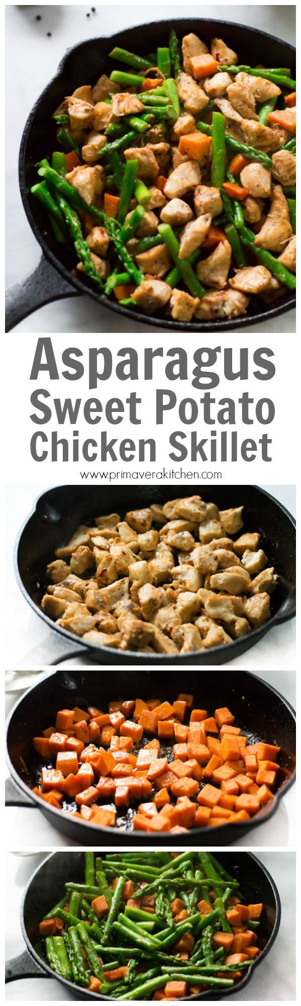 Asparagus Sweet Potato Chicken Skillet - This homemade one-pot chicken skillet recipe is made with asparagus and sweet potato. This is a gluten-free paleo and easy to make meal for your busy weeknight dinner.